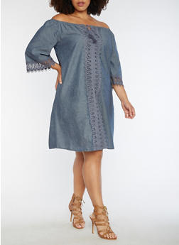 Plus Size Off the Shoulder Dress with Crochet Detail - 3390056127711