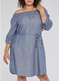 Plus Size Striped Off the Shoulder Tie Sleeve Dress - 3390056127716