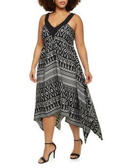 Plus Size Printed Dress with Asymmetrical Hem - 3390056129182