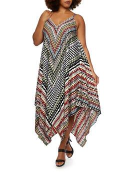 Plus Size Sleeveless Dress in Abstract Print with Sharkbite Hem - 3390056129313