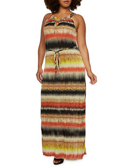 Plus Size Maxi Dress with Curb Chain Neckline Detail - 3390056129331