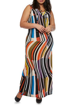 Plus Size Sleeveless Lace-Up Maxi Dress with Striped Print - 3390056129369