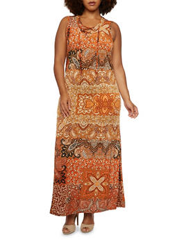 Plus Size Paisley Maxi Dress with Lace-Up V-Neck - 3390056129370