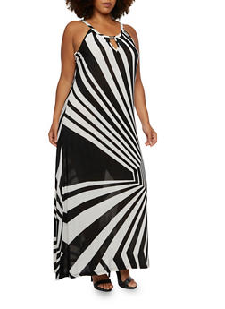 Plus Size Maxi Dress with Psychedelic Stripes - 3390056129471