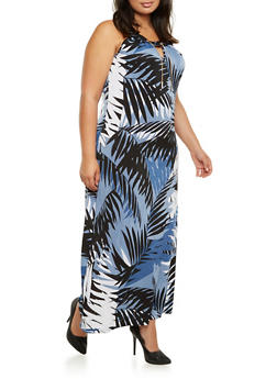 Plus Size Printed Maxi Dress with Embellished Neckline - 3390056129477