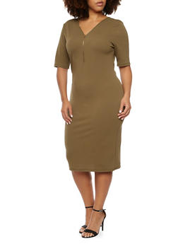 Plus Size Dress with Zip V Neck - 3390058750033