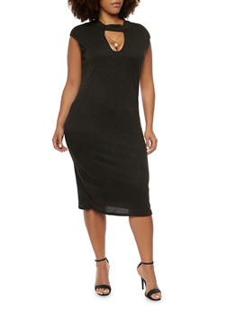 Plus Size Cutout Midi Dress with Necklace - BLACK - 3390058750034