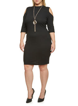 Plus Size Cold Shoulder Dress with Necklace - BLACK - 3390058750035