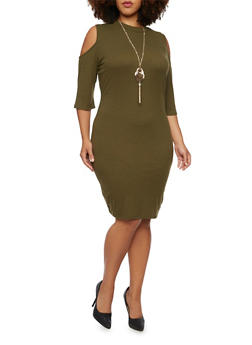 Plus Size Cold Shoulder Dress with Necklace - OLIVE - 3390058750035