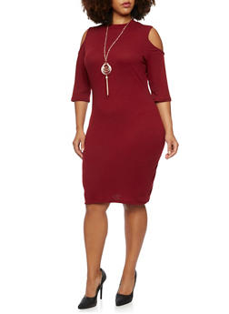 Plus Size Cold Shoulder Dress with Necklace - BURGUNDY - 3390058750035
