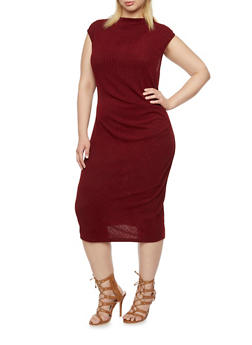Plus Size Ribbed Midi Dress with Ruched Front - 3390058750073
