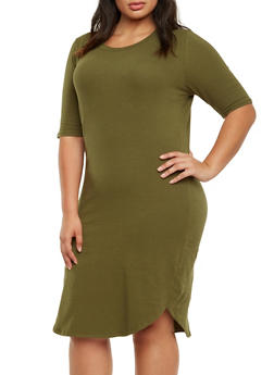 Plus Size Jersey Shirt Dress with V-Neck - 3390058751432