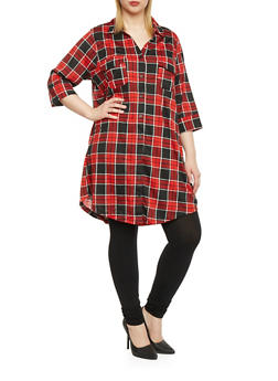Plus Size Plaid Shirt Dress - 3390058751441