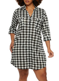 Plus Size Gingham Print Dress with Button Front - 3390058751447