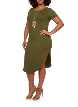Plus Size Midi T-Shirt Dress with Necklace - 3390058751448
