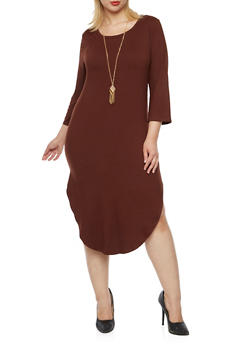 Plus Size Brushed Knit Midi Dress with Necklace - BROWN - 3390058751449