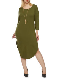 Plus Size Brushed Knit Midi Dress with Necklace - 3390058751449