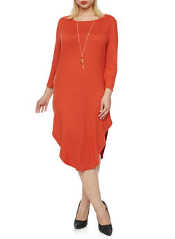 Plus Size Brushed Knit Midi Dress with Necklace - RUST - 3390058751449