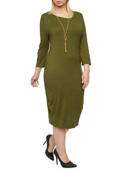 Plus Size Stretch T Shirt Dress with Removable Necklace - 3390058751450