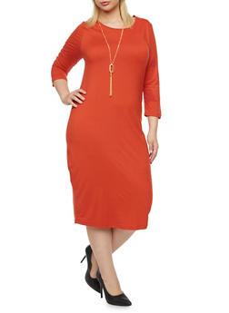 Plus Size Stretch T Shirt Dress with Removable Necklace - RUST - 3390058751450