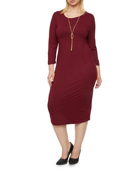Plus Size Shift Dress with Removable Necklace - 3390058751450
