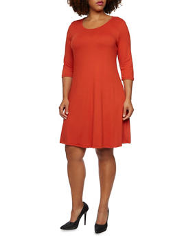 Plus Size Solid Shift Dress - 3390058751862