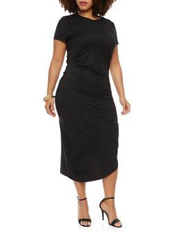 Plus Size Draped T Shirt Dress - BLACK - 3390058752028