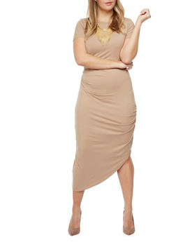 Plus Size Draped Side T Shirt Dress - 3390058752028