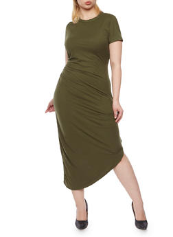 Plus Size Draped Side T Shirt Dress - 3390058752028