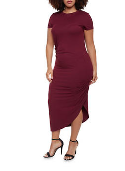 Plus Size Draped T Shirt Dress - 3390058752028