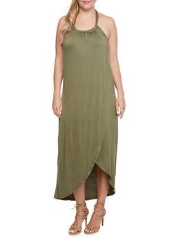Plus Size Halter Maxi Dress - OLIVE - 3390058752044