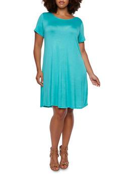 Plus Size Jersey Swing Dress - 3390058752045