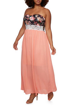 Plus Size Strapless Floral and Chiffon Maxi Dress - 3390058752046