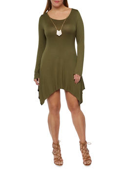 Plus Size Asymmetrical Dress with Necklace - OLIVE - 3390058752048