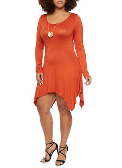 Plus Size Asymmetrical Dress with Necklace - 3390058752048
