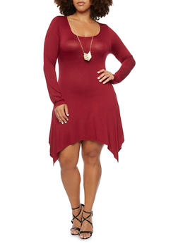 Plus Size Asymmetrical Dress with Necklace - BURGUNDY - 3390058752048
