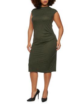 Plus Size Heathered Dress with Gathered Waist - 3390058752056