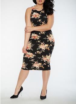 Plus Size Floral Mid Length Bodycon Dress - 3390058752139