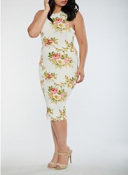 Plus Size Floral Mid Length Bodycon Dress - 3390058752139