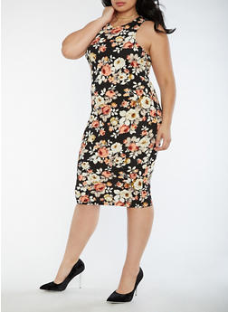 Plus Size Textured Knit Floral Bodycon Dress - 3390058752140