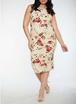 Plus Size Floral Midi Bodycon Dress - 3390058752141