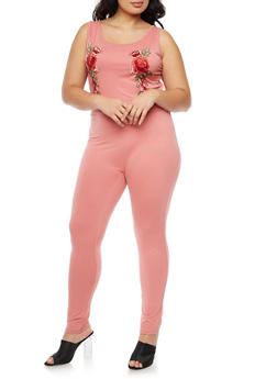 Plus Size Sleeveless Floral Applique Jumpsuit - 3390058752590