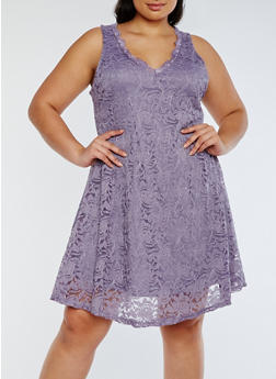 Plus Size Sleeveless Lace Skater Dress - 3390058752640
