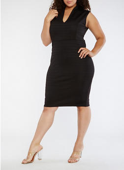 Plus Size Plunge Neck Bodycon Dress - 3390058753031