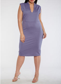 Plus Size Plunge Neck Bodycon Dress - HERON - 3390058753031
