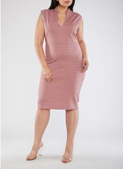 Plus Size Plunge Neck Bodycon Dress - MESA ROSE - 3390058753031