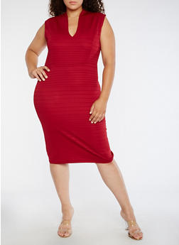 Plus Size Plunge Neck Bodycon Dress - 3390058753031