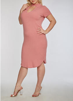 Plus Size Rib Knit Bodycon Dress - 3390058753032