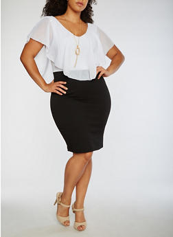 Plus Size Midi Dress With Chiffon Top and Necklace - 3390058930036