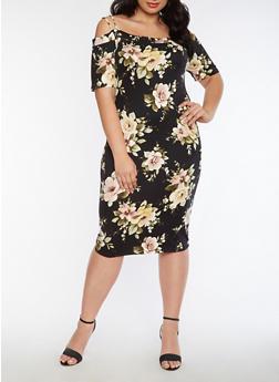 Plus Size Off the Shoulder Soft Knit Floral Dress - 3390058930129